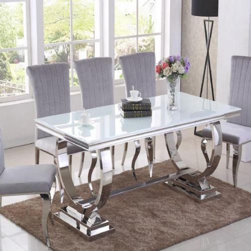 JP DT840 Dining table180cm (White Glass) & JP CH250 Plush Velvet pewter Chairs From Jesse plana
